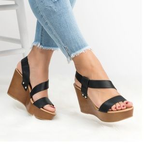 Black Studded Strappy Platform Wedge Sandals